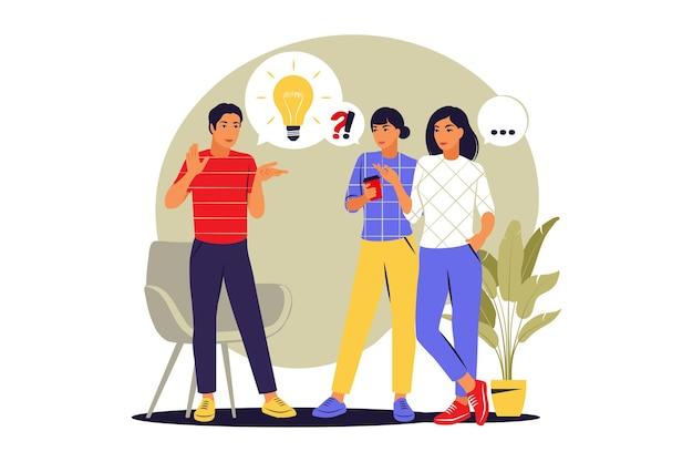 Gente hablando de concepto. discusión de noticias, redes sociales. burbujas de diálogo de diálogo. ilustración vectorial. estilo plano