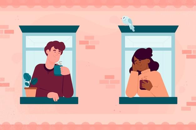 Gente hablando desde diferentes balcones
