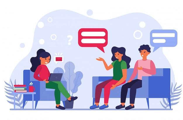 Gente hablando y discutiendo