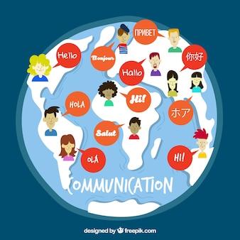 Gente hablando distintos idiomas dibujada a mano