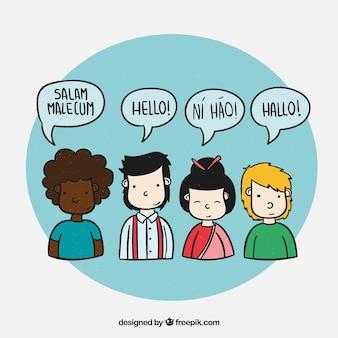 Gente hablando distintos idiomas dibujado a mano