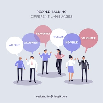 Gente hablando distintos idiomas con diseño plano