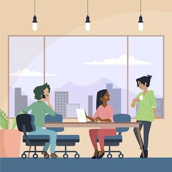 Gente hablando en el espacio de coworking.