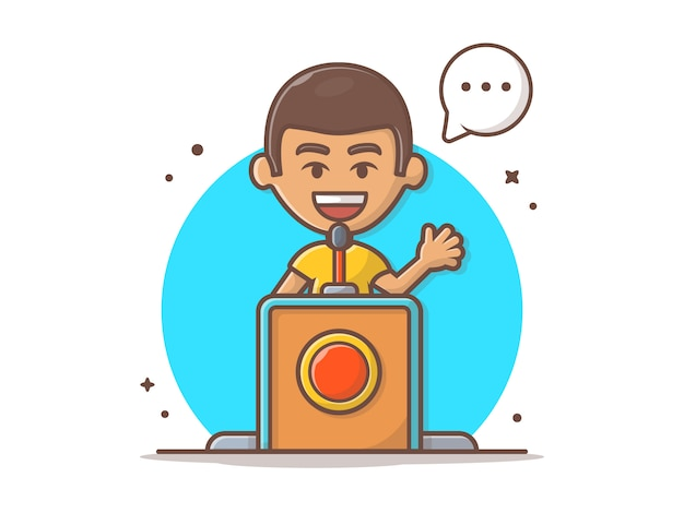 Gente hablando en la ilustración de vector de púlpito