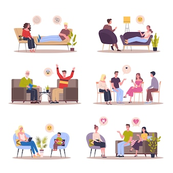 Gente hablando con psicólogo. ilustración sobre fondo blanco