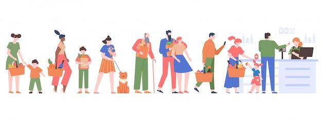 La gente hace cola de supermercado. los personajes se agolpan esperando en la línea del cajero, los clientes en el supermercado, la tienda de comestibles larga cola ilustración. mercado de comestibles de personas, cliente en supermercado