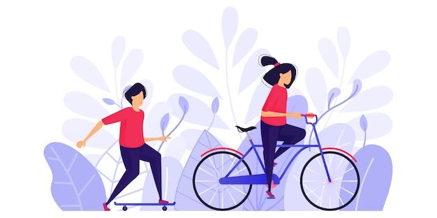 La gente hace ejercicio, relájate y disfruta de la tarde.
