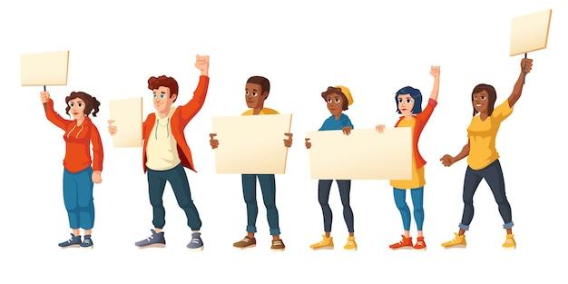 La gente hace huelga, hombres y mujeres enojados con pancartas protestan en la manifestación. personajes con pancartas en blanco luchan por sus derechos, ciudadanos protestando, disturbios, ilustración vectorial de dibujos animados