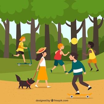 Gente haciendo actividades al aire libre con diseño plano