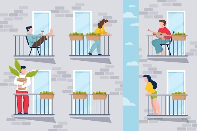 Gente haciendo actividades de ocio en el balcón.