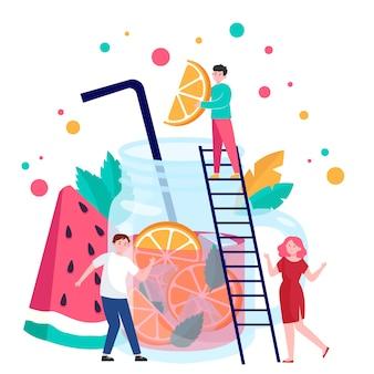 Gente haciendo bebida de frutas