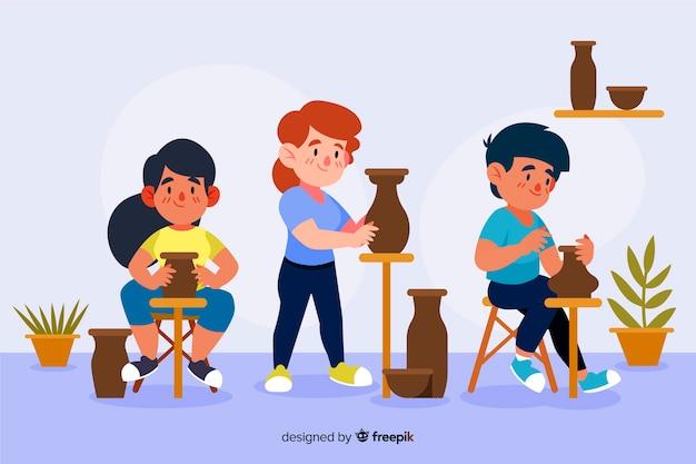 Gente haciendo cerámica de diseño plano.