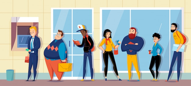 Gente haciendo cola en el banco haciendo cola para cajero automático atm esperando mensajes ilustración de composición horizontal plana
