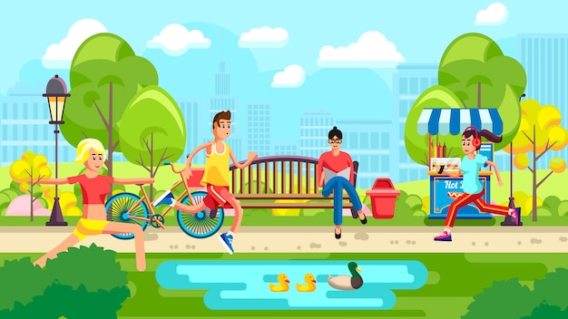 Gente haciendo deporte en el parque de la ciudad