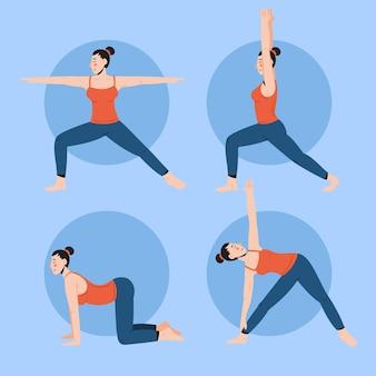 Gente haciendo diseño de yoga