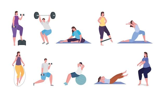 Gente haciendo ejercicio ilustración de colección