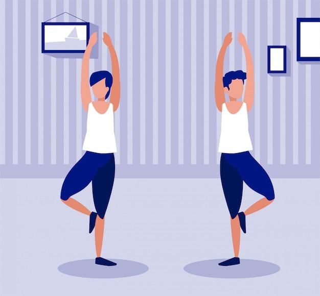 Gente haciendo ejercicios en casa