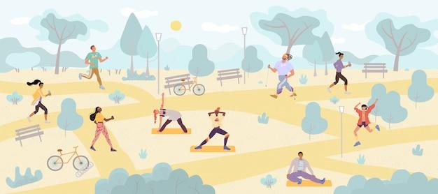 Gente haciendo ejercicios de ejercicio matutino en el parque
