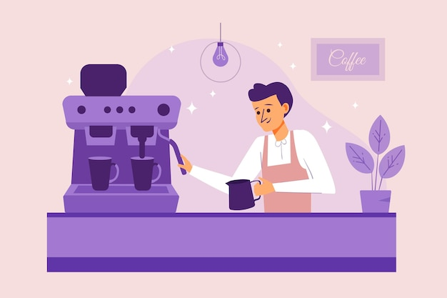 Gente haciendo ilustración de café