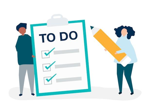 Gente haciendo una ilustración de la lista de tareas