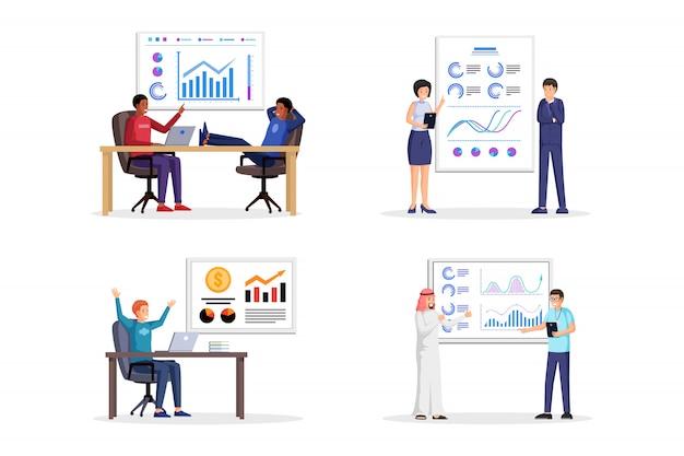 Gente haciendo negocios presentación ilustraciones conjunto. informe corporativo con cuadros, diagramas, gráficos, información estadística en la pizarra. paquete de ilustraciones de estrategia empresarial y análisis