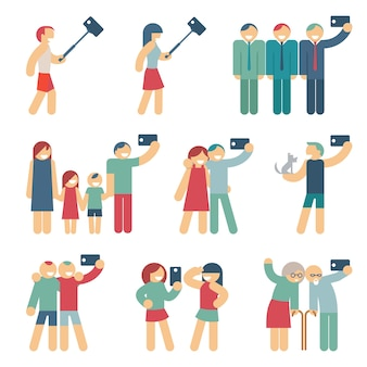 Gente haciendo selfies set