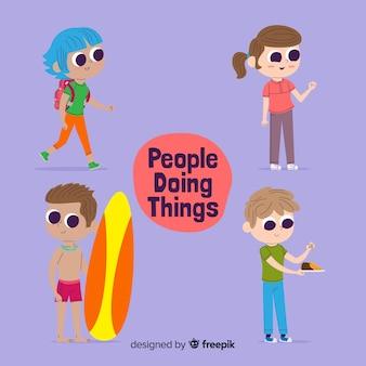 Gente haciendo tareas
