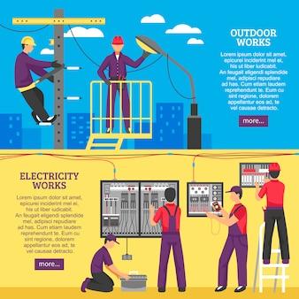Gente haciendo trabajos eléctricos banners horizontales