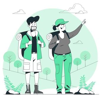 Gente haciendo turismo al aire libre ilustración del concepto
