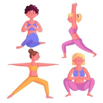 Gente haciendo yoga colección