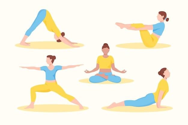 Gente haciendo yoga diseño plano