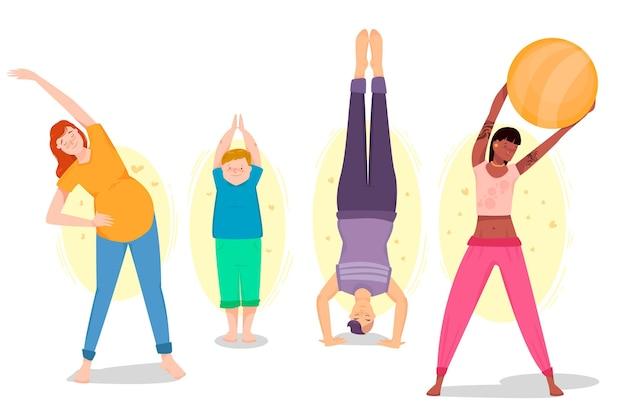 Gente haciendo yoga ilustración