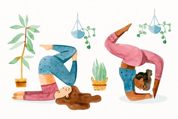 Gente haciendo yoga en mano dibujado