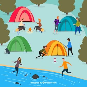 Gente hacinedo actividades al aire libre con diseño plano