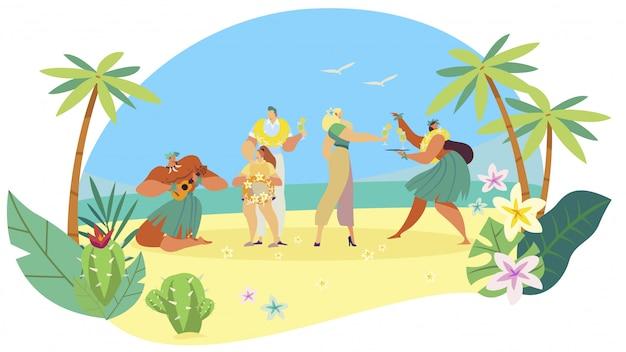 Gente hawaiana bienvenida familia turística en isla exótica, vacaciones de verano étnicas, ilustración