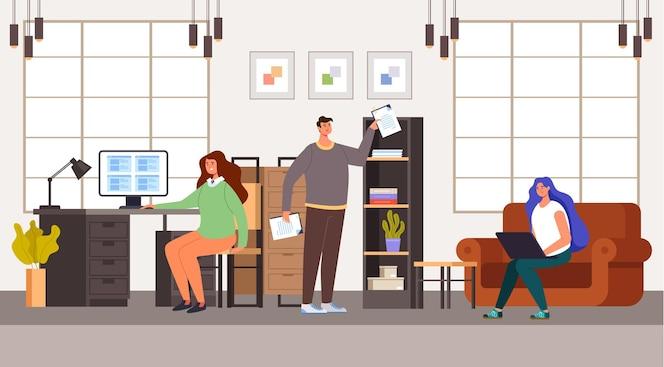 Gente hombre mujer oficinistas carácter trabajando. concepto de vida de oficina.