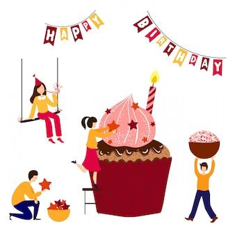 Gente - hombres, mujeres - cocinando, decorando pastel de cumpleaños.