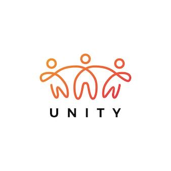Gente humana juntos unidad familiar logo icono ilustración