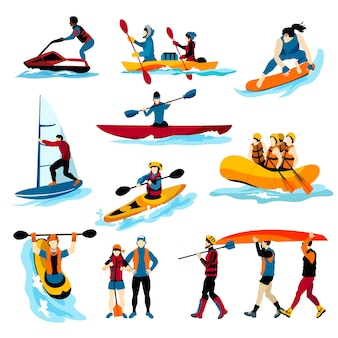 Gente en iconos de colores de deportes acuáticos extremos