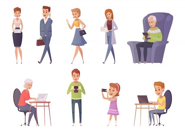 Gente con los iconos decorativos de los artilugios sistema de gente que usa el ordenador portátil de la tableta en café y hogar interi