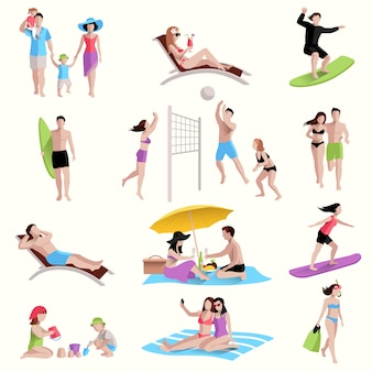 Gente en los iconos de la playa