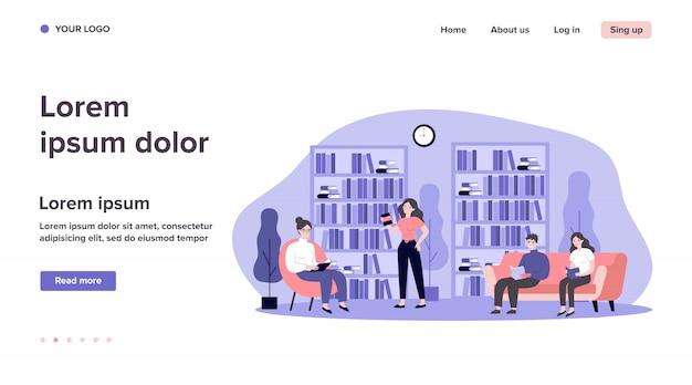 Gente en la ilustración de la biblioteca