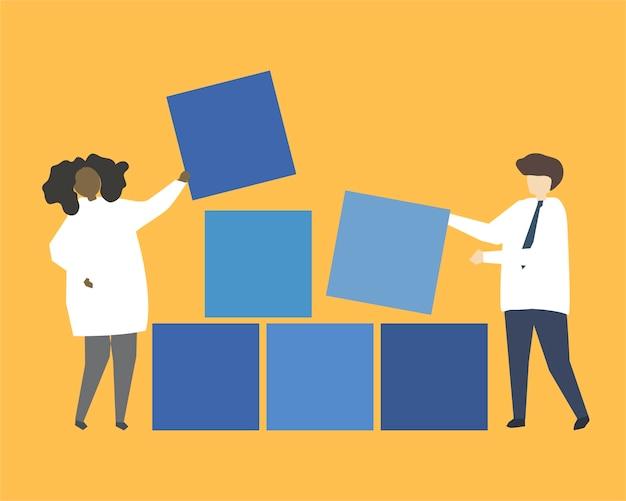 Gente con ilustración de bloques de construcción azul