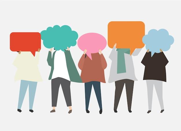 Gente con ilustración de burbujas de discurso