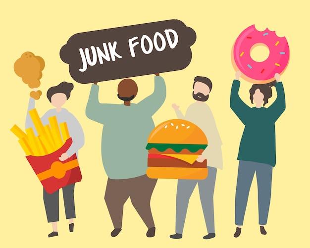 Gente con ilustración de comida chatarra grasa