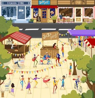 La gente en la ilustración del festival de jazz, dibujos animados hombre plano mujer bailarina bailando personaje, intérprete músico banda tocando música de jazz
