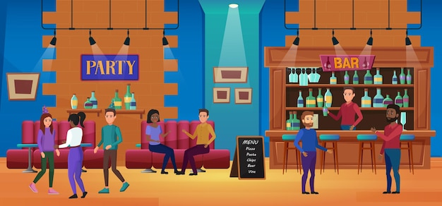 Gente en la ilustración de fiesta de bar de diversión de vida nocturna.