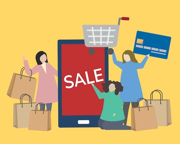 Gente con ilustración de iconos de compras