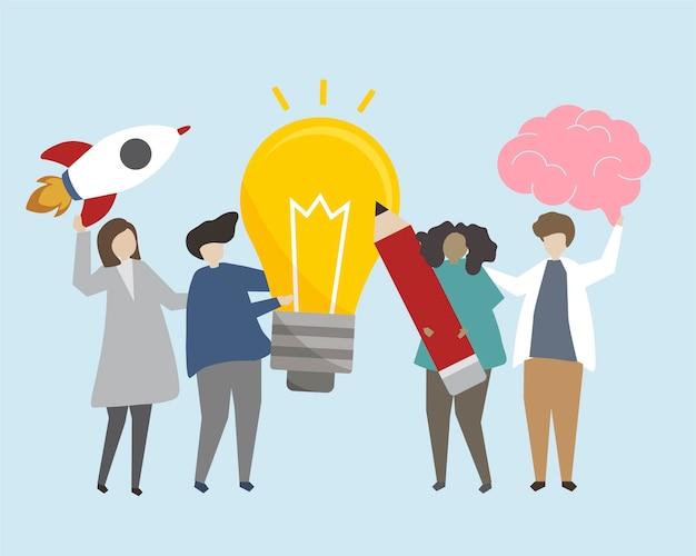 Gente con ilustración de ideas brillantes