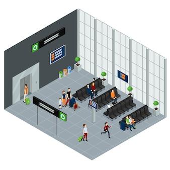Gente en la ilustración isométrica del aeropuerto